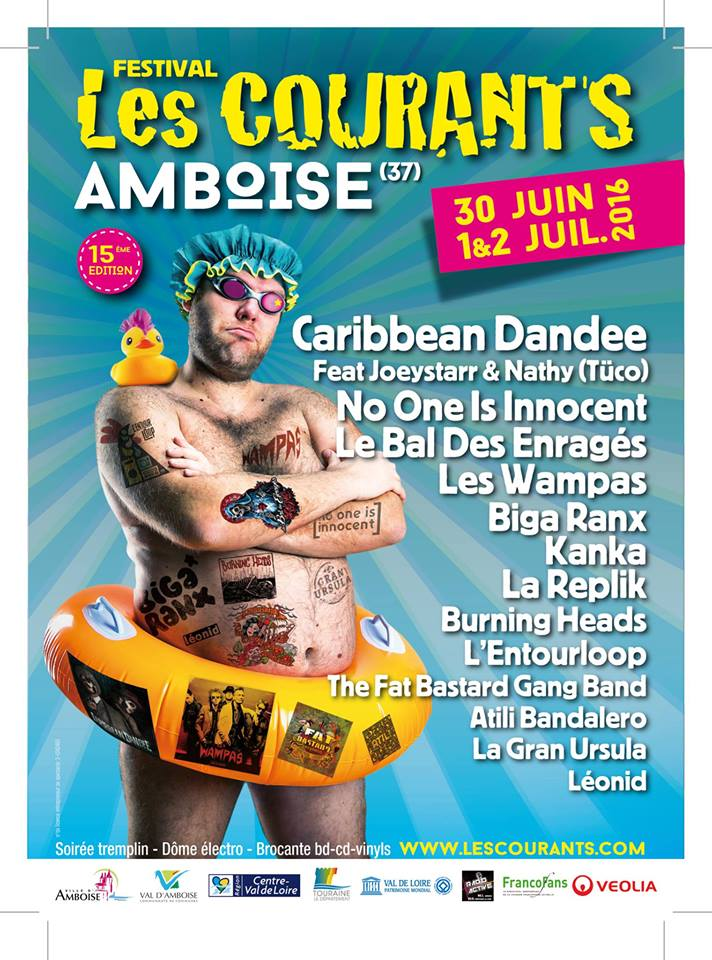 30 Juin 2016 Monsieur Philomène, The Sam Merlotte's Experience, M'sieur la Bulle, Pit Grand, Burning Heads à Amboise