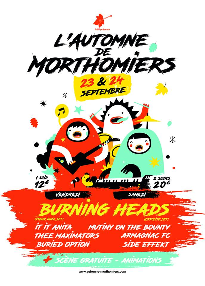 24 septembre 2016 Mutiny On The Bounty, Armagnac FC, Side Effekt, Burning Heads à Morthomiers