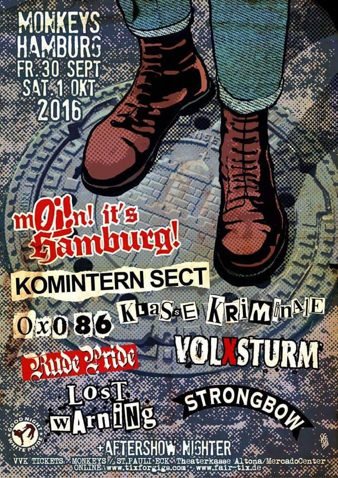 1er Octobre 2016 Komintern Sect, Rude Pride, Klasse Kriminale, Lost Warning à Hambourg