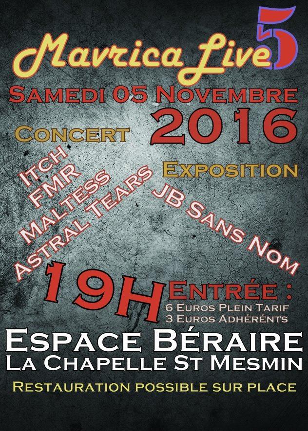 """5 novembre 2016 Itch, FMR, Maltess, Astral Tears à La Chapelle Saint Mesmin """"Espace Beraire"""""""