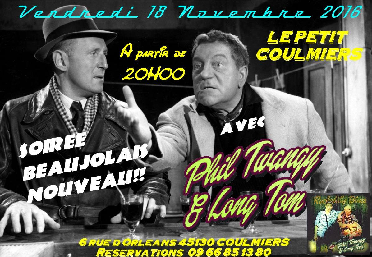 "18 novembre 2016 Phil Twanguy & Long Tom à Coulmiers ""Au Petit Coulmiers"" - Annulé"