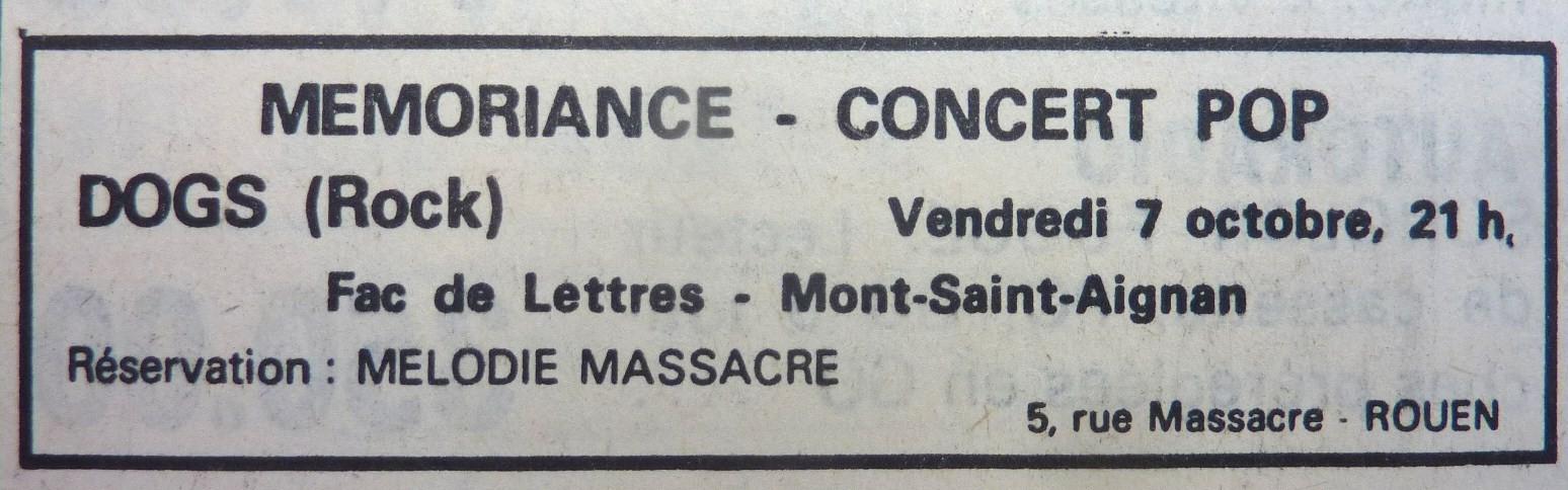 """7 octobre 1977 Dogs, Memoriance à Mont Saint Aignan """"Fac de Lettre"""""""