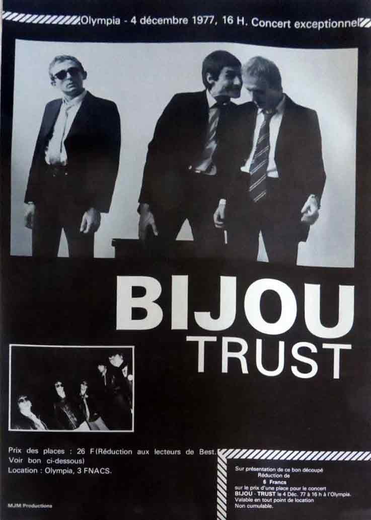 "4 Decembre 1977 Bijou, Trust à Paris ""Olympia"""
