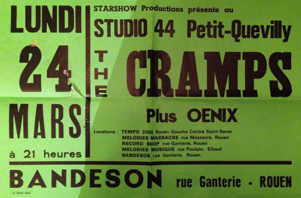 "24 mars 1980 Oenix, Cramps au Petit Quevilly ""Studio 44"""