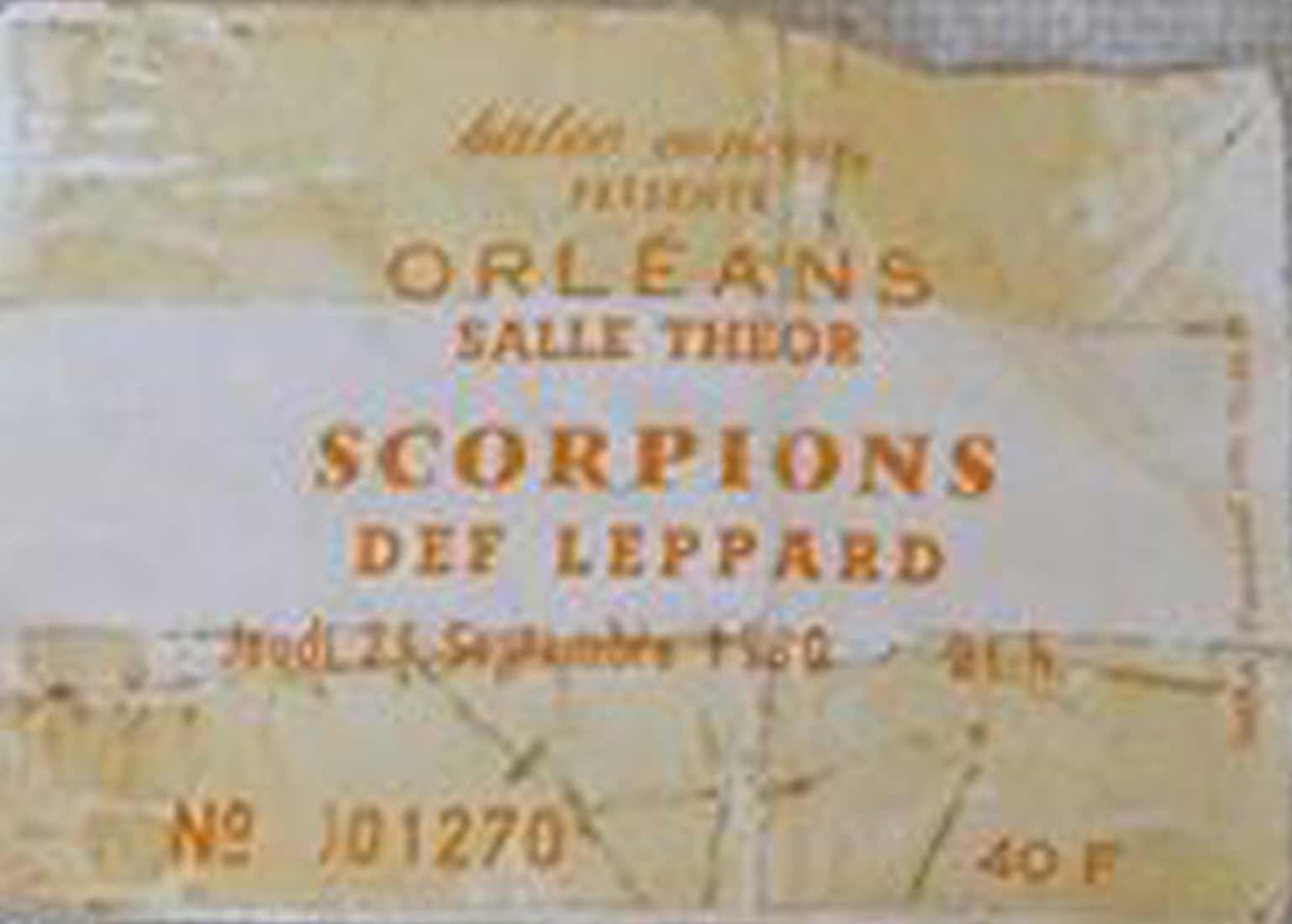 """25 Septembre 1980 Scorpions, Def Leppard à Orléans """"Parc des Expositions"""""""