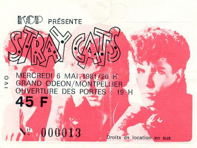 "6 mai 1981 Stray Cats à Montpellier ""Grand Odeon"""