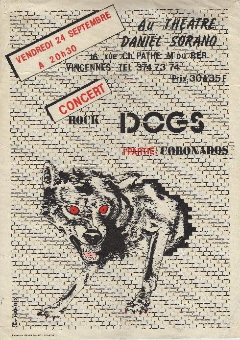 """24 septembre 1982 les Dogs, les Coronados à Vincennes """"Theatre Daniel Sorano"""""""