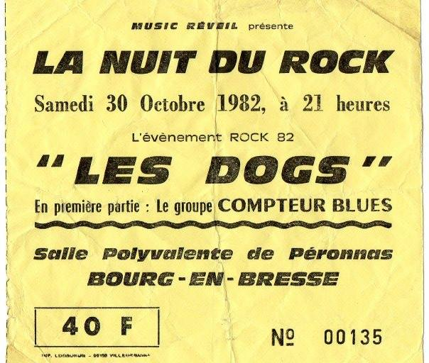"""30 octobre 1982 les Dogs, Compteur Blues à Bourg En Bresse """"Salle Polyvalente de Peronnas"""""""