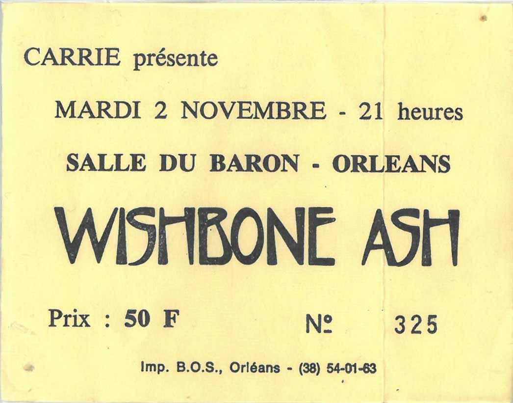 """2 novembre 1982 Docteur Blue, Wishbone Ash à Orléans """"Salle du Baron"""""""