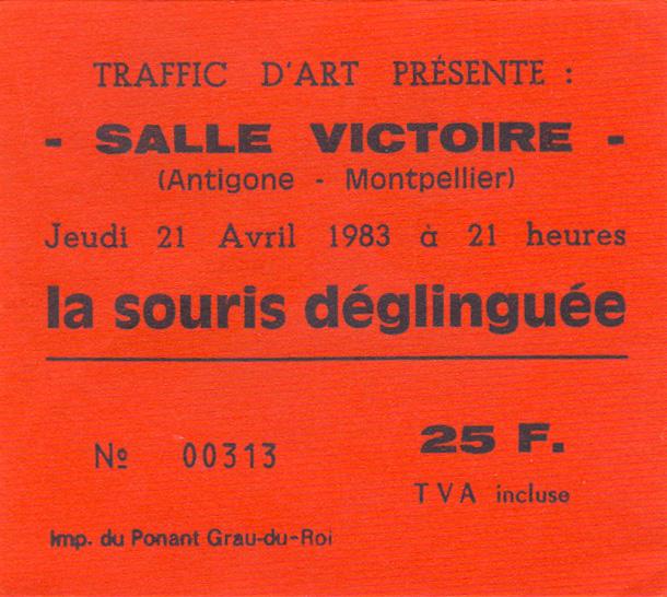 """21 avril 1983 La Souris Déglinguée à Montpellier """"Salle Victoire"""""""