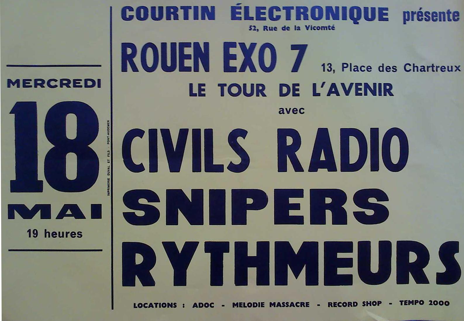"18 mai 1983 Civils Radio, Snipers, Rythmeurs à Petit Quevilly ""Exo 7"""