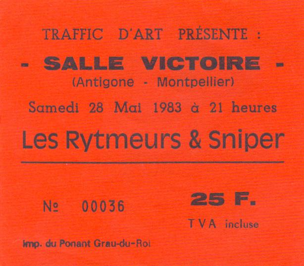 "28 mai 1983 Les Rythmeurs, Snipers à Montpellier ""Salle Victoire"""