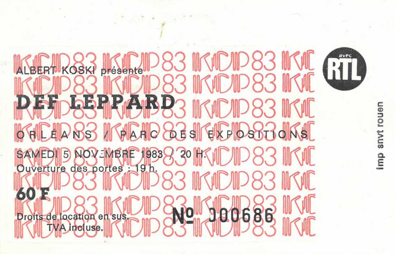 5 novembre 1983 Rock Goddess, Def Leppard à Orléans « Parc des Expositions »