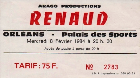 """8 février 1984 Renaud à Orléans """"Palais des Sports"""""""