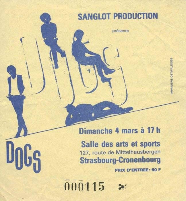 """4 mars 1984 les Dogs à Cronenbourg """"Salle des Arts et Sports"""""""