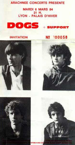 """6 mars 1984 les Dogs à Lyon """"Palais d'Hiver"""""""