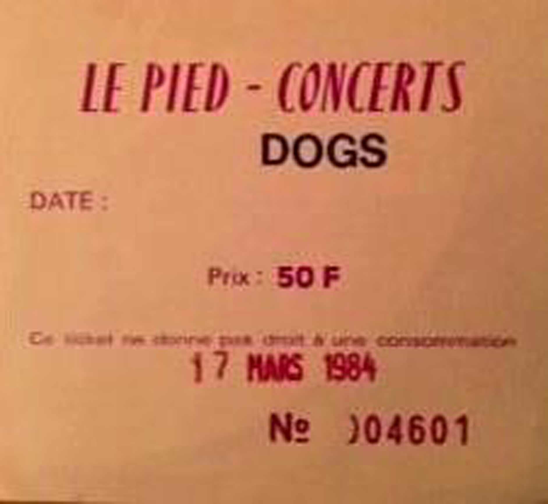 """17 mars 1984 les Dogs à Toulouse """"le Pied"""""""