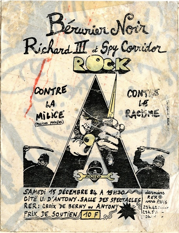"""15 décembre 1984 Richard 3, Spy Corridor, Berurier Noir à Antony """"Cité Universitaire"""""""