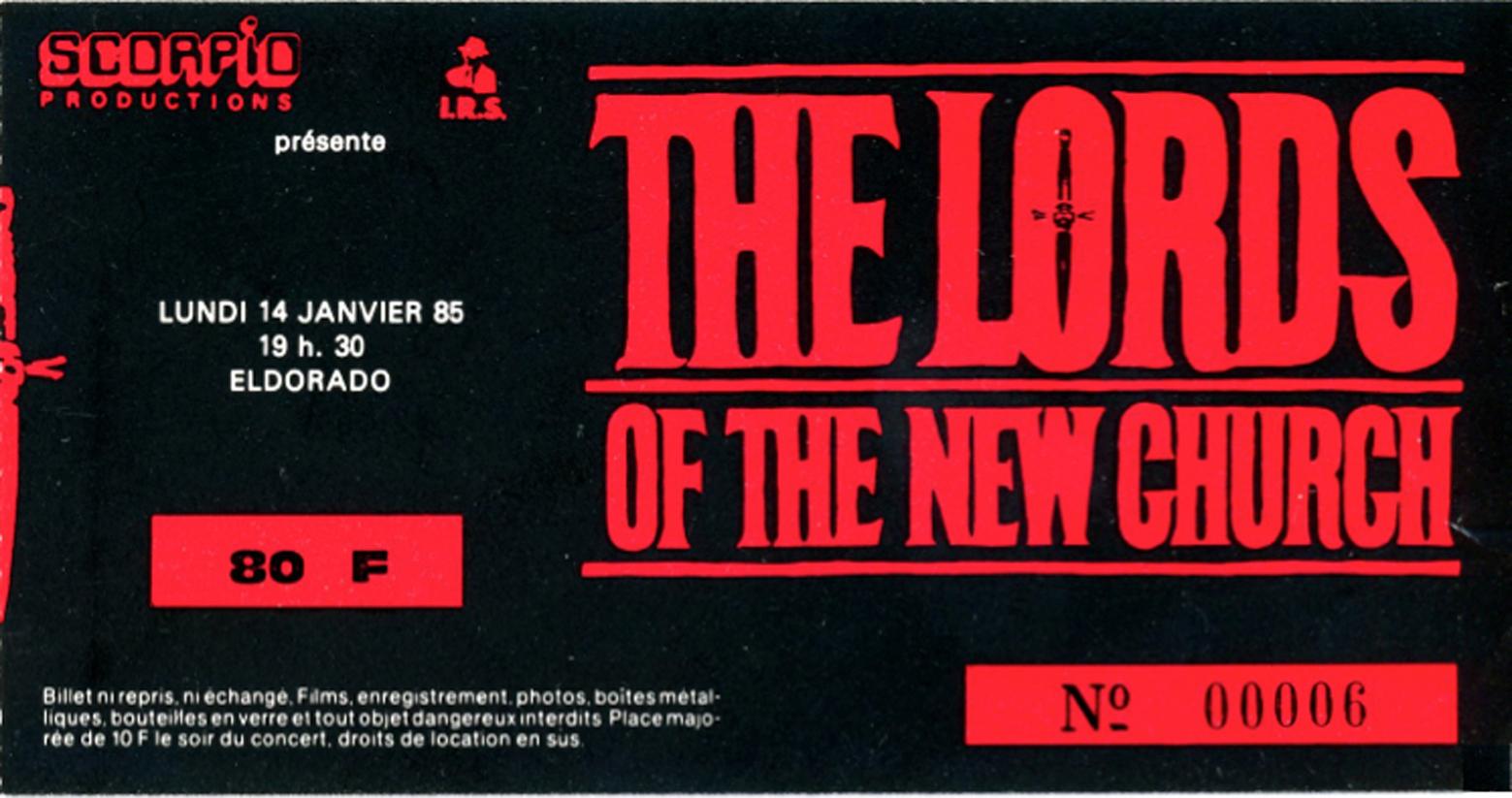 "14 janvier 1985 The Lords Of The New Church à Paris ""Eldorado"""