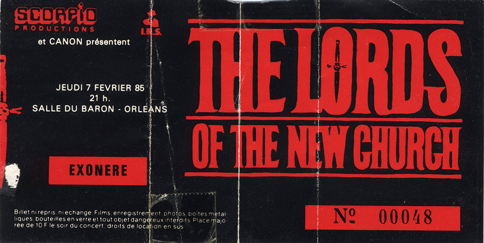 "7 Février 1985 The Lords Of The New Church à Orléans ""Salle du Baron"""