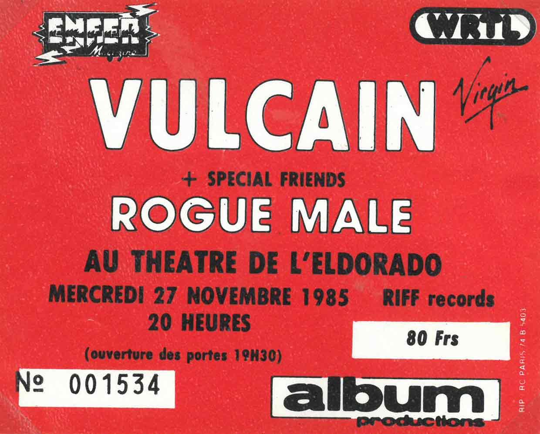 """27 novembre 1985 Rogue Male, Vulcain à Paris """"Eldorado"""""""
