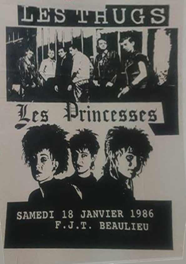 """18 janvier 1986 les Thugs, les Princesses à Nantes """"FJT Beaulieu"""""""