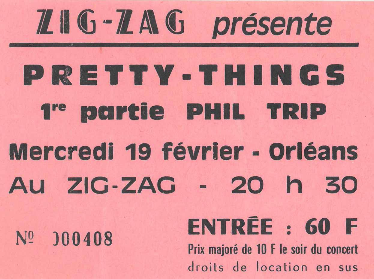 "19 février 1986 Jo Karayan, Pretty Things à Olivet ""Le Zig Zag"""