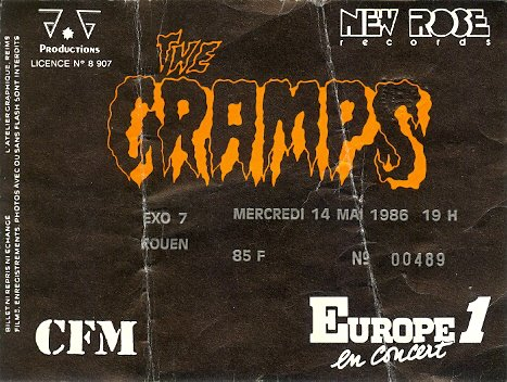 "14 mai 1986 The Cramps à Petit Quevilly ""Exo 7"""