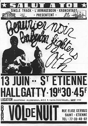 "13 juin 1986 Babylon Fighters, Berurier Noir, OTH à Saint Etienne ""Hallgatty"""