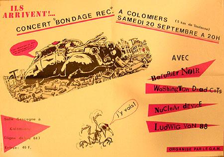 """20 septembre 1986 Berurier Noir, Washington Dead Cats, Nuclear Device, Ludwig Von 88 à Colomiers """"Salle Gascogne"""""""