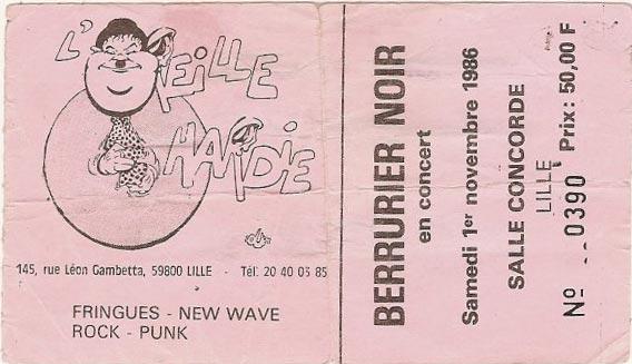 """1er novembre 1986 Washington Dead Cats, ND, Berurier Noir à Lille """"Maison de Quartier Concorde"""""""