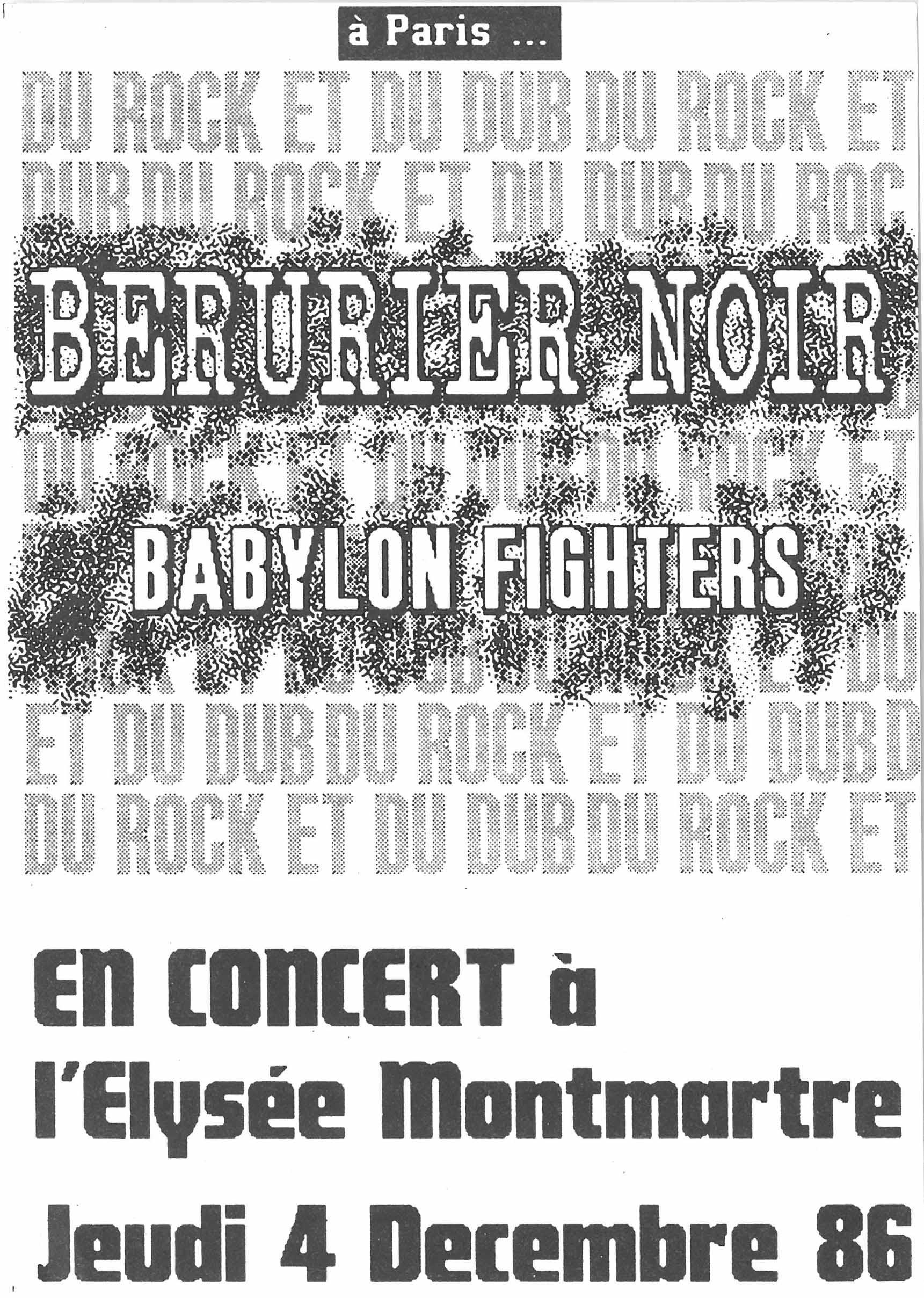 """4 decembre 1986 Foreign Legion, Babylon Fighters, Berurier Noir à Paris """"Elysée Montmartre"""""""