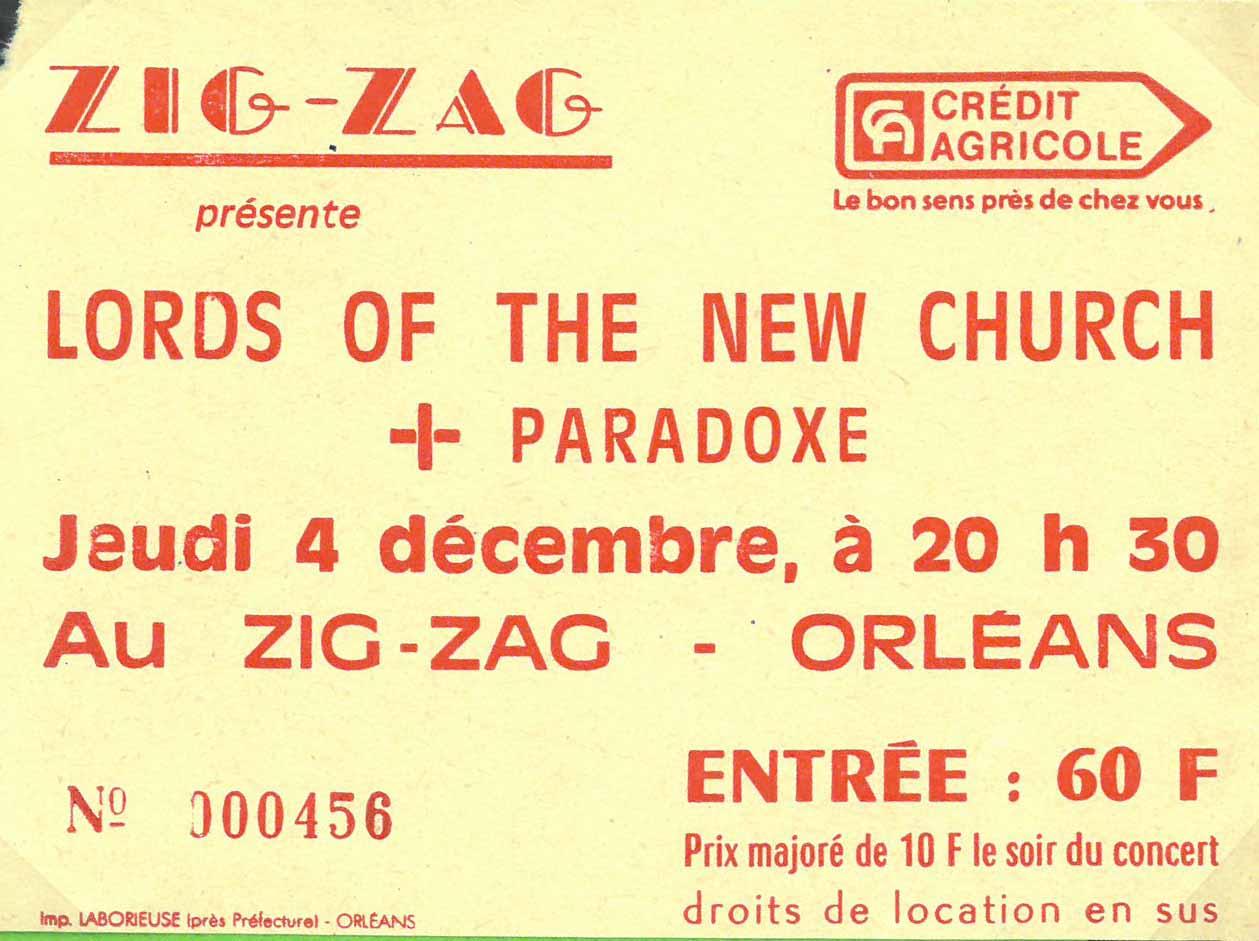 "4 décembre 1986 Paradoxe, Lords Of the New Church à Olivet ""le Zig Zag"""