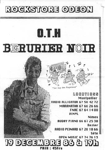 "19 decembre 1986 OTH, Berurier Noir à Montpellier ""Rockstore Odeon"""