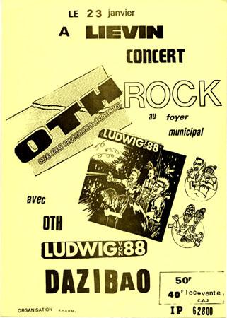 """23 janvier 1987 OTH, Ludwig Von 88, Dazibao à Lievin """"Foyer Municipal"""""""