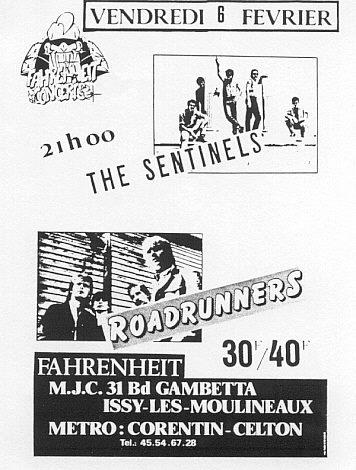 """6 fevrier 1987 les Sentinelles, Roadrunners à Issy Les Moulineaux """"le Farenheit"""""""