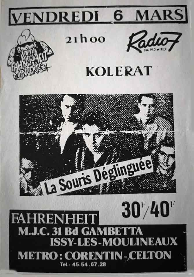 """6 mars 1987 Kolerat, La Souris Deglinguée à Issy les Moulineaux """"le Farenheit"""""""