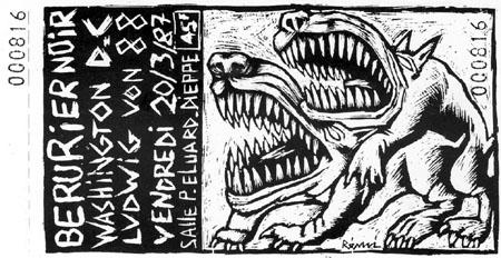 """20 mars 1987 Ludwig Von 88, Washington Dead Cats, Berurier Noir à Dieppe """"Salle Paul Eluard"""""""