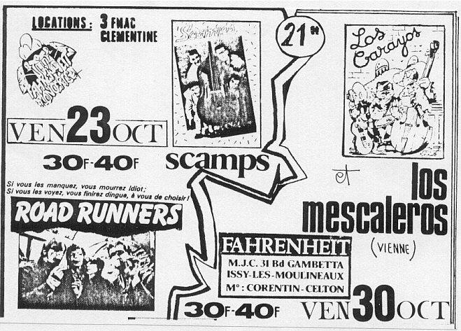 """23 octobre 1987 Roadrunners, Scamps à Issy Les Moulineaux """"le Farenheit"""""""