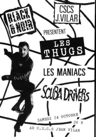 "24 Octobre 1987 Kid Pharaon, Scuba Drivers, Maniacs, les Thugs à Angers ""CSCS Jean Vilar"""