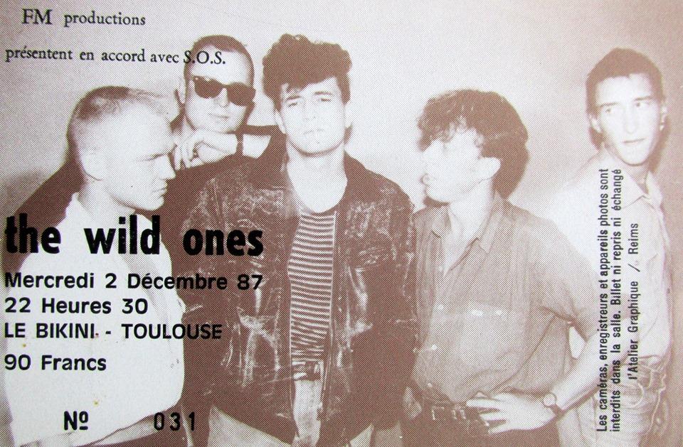 """2 decembre 1987 Wild Ones à Toulouse """"le Bikini"""""""