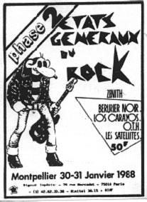 """30 janvier 1988 Los Carayos, OTH, Les Satellites, Berurier Noir à Montpellier """"le Zenith"""""""