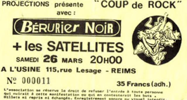 """26 mars 1988 Les Satellites, Berurier Noir à Reims """"l'Usine"""""""