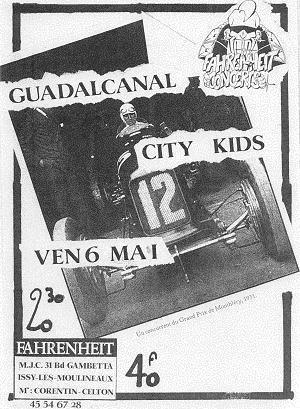 """6 mai 1988 City Kids, Guadalcanal à Issy Les Moulineaux """"le Farenheit"""""""