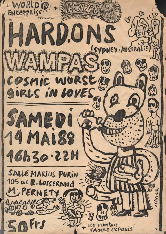 "14 mai 1988 Hard Ons, Les Wampas, Cosmic Wurst, Girls In Loves à Paris ""Salle Marius Purin (Magnin)"""