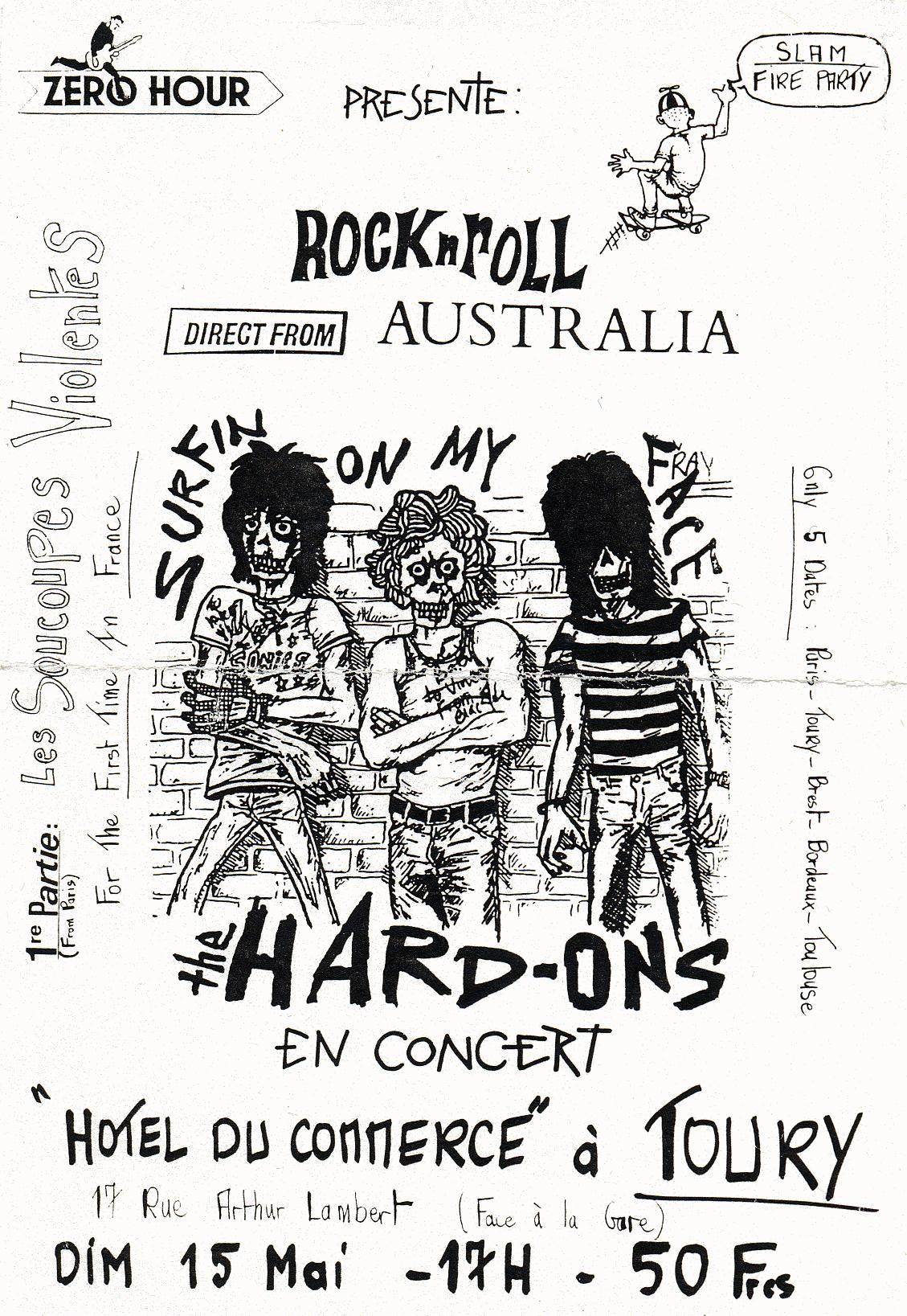 """15 mai 1988 Les Soucoupes Violentes, Hard Ons à Toury """"Hotel du Commerce"""""""