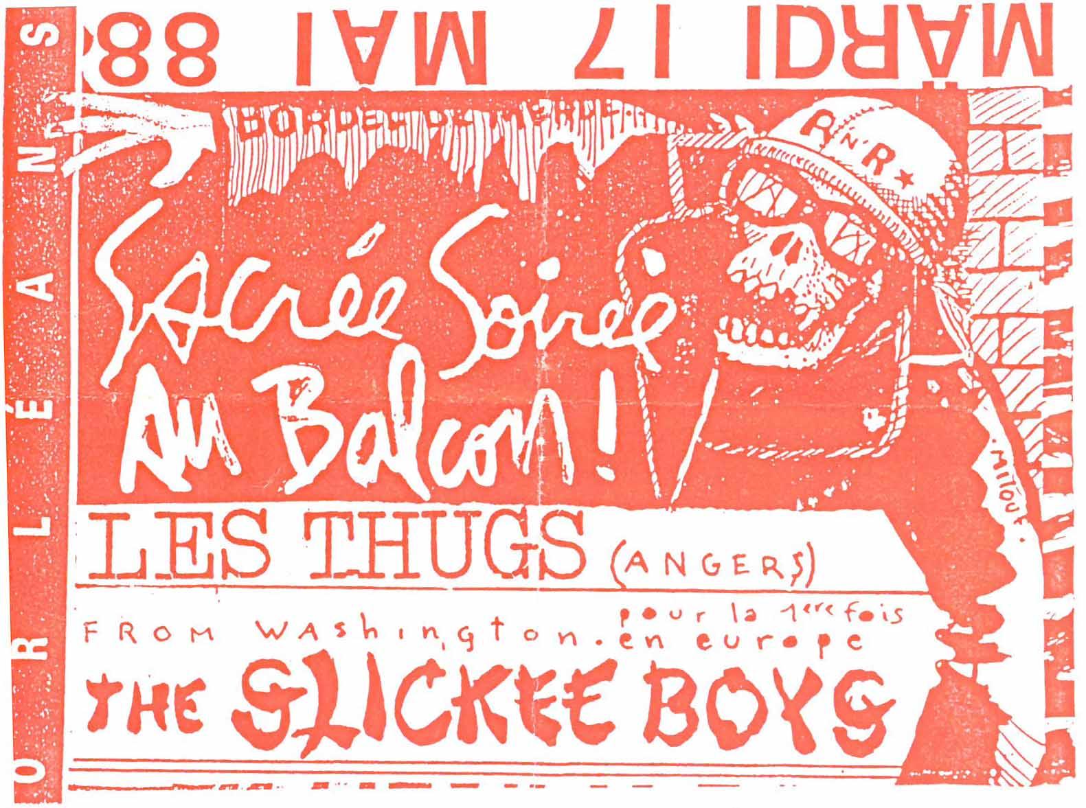 """17 mai 1988 les Thugs, the Slickee Boys à Orléans """"le Balcon"""""""