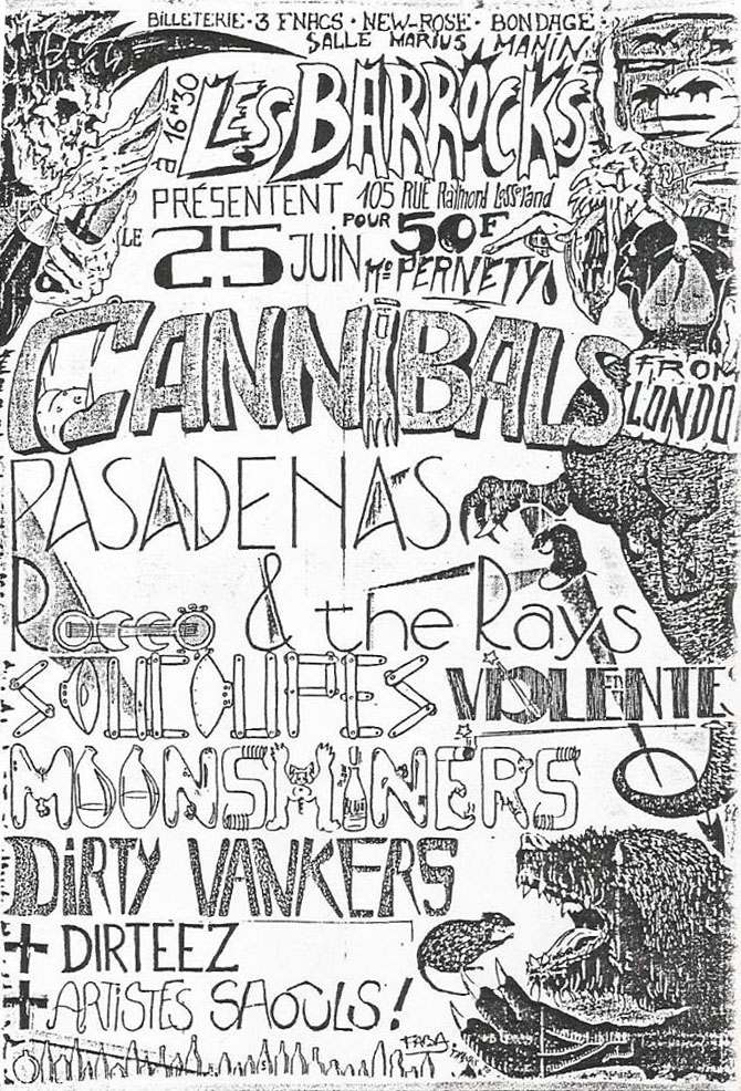 "25 juin 1988 The Cannibals, Pasadenas, Rocco & the Rays, Moonshiners, Witches Valley, Dirteez, les Soucoupes Violentes, Dirty Wankers à Paris ""Salle Marius Magnin"""