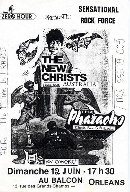"""12 juin 1988 the Pharaohs, the New Christs à Orléans """"le Balcon"""""""