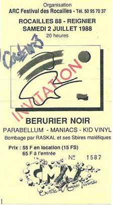 2 juillet 1988 Kid Vinyl, Maniacs, Parabellum, Berurier Noir à Reignier